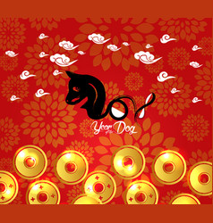 Chinese new year 2018 plum blossom and coin vector