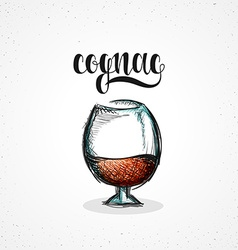 Color cognac in glass with calligraphy Sketch by vector image