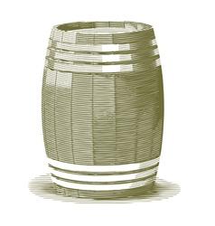 Engraved wooden barrel vector