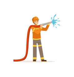 Fireman character spraying water using hose vector