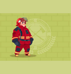 Fireman wearing uniform and helmet adult fire vector