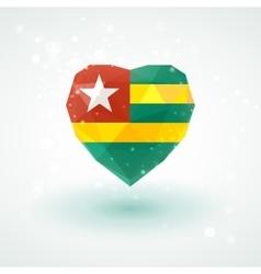 Flag of togo in shape diamond glass heart vector