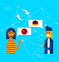 Friends translating chinese to german language vector