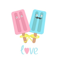 Funny ice cream couple with lips mustaches eyes vector