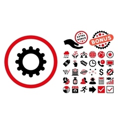 Gear Flat Icon with Bonus vector image vector image
