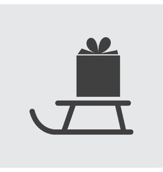 Gift on sled icon vector image vector image