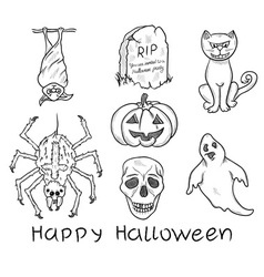 Halloween design elements vector image vector image