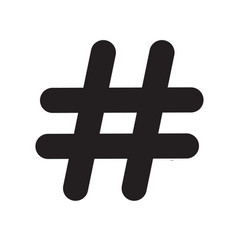 hashtag icon on white background hashtag sign vector image