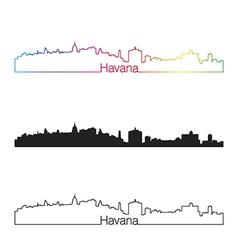 Havana skyline linear style with rainbow vector