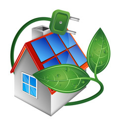 home and solar panels on the roof vector image