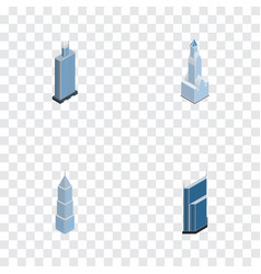 Isometric construction set of exterior business vector