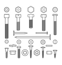 Metal fasteners line icons set vector