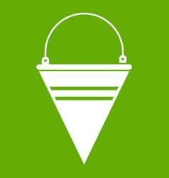 Metal fire bucket icon green vector