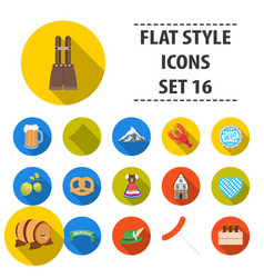 oktoberfest set icons in flat style big vector image