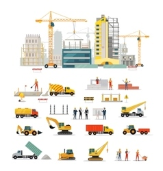 Process construction of residential houses vector