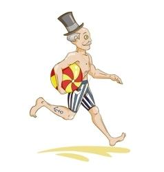 Running man with beach ball vector