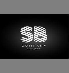 Sb s b letter alphabet logo black white icon vector