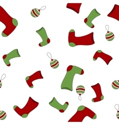 Seamless Christmas pattern with xmas socks stars vector image