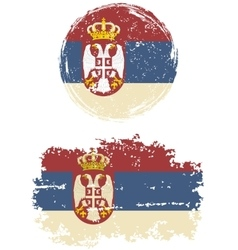 Serbian round and square grunge flags vector image vector image