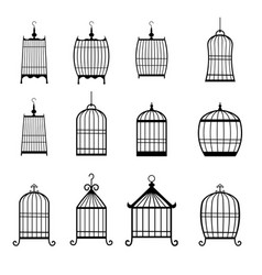 set of modern bird cages editable vector image