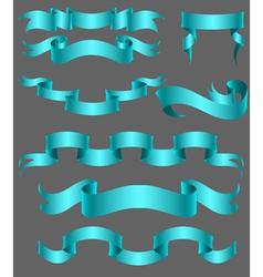 set of ribbon blue vector image vector image