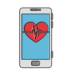 smartphone device with heart cardio vector image