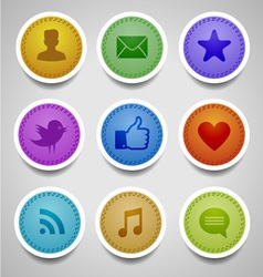 stitched labels with social web icons vector image vector image