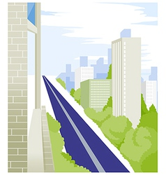 Straight Road and buildings vector image vector image