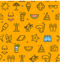 Summer travel recreation holiday pattern vector