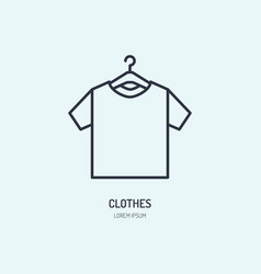 t-shirt on hanger icon clothing shop line logo vector image vector image