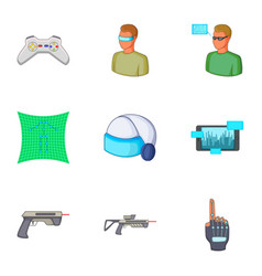 virtual reality games icons set cartoon style vector image
