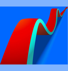 wavy red arrow on blue background vector image
