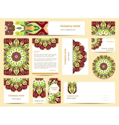 Stationery template design with mandalas vector image