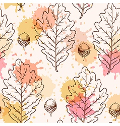 Autumn seamless pattern with oak leaves vector