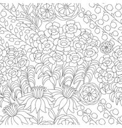 Floral pattern in black and white colors vector image