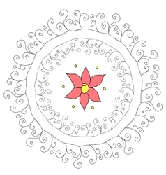 Abstract circular pattern with flower vector image