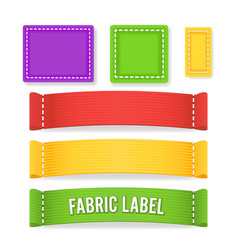 Color label fabric blank  different sizes vector