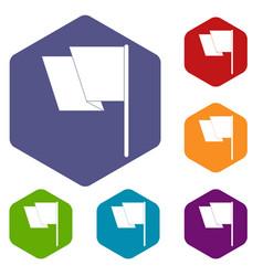 flag icons set hexagon vector image