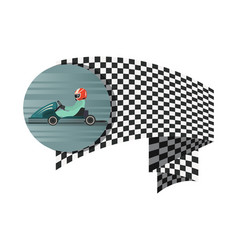 Kart competition symbol with checkered flag vector