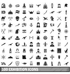 100 exhibition icons set simple style vector