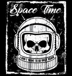 Astronaut black and white skull t shirt graphic vector