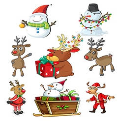 A set of christmas designs vector