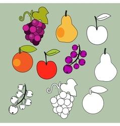 Fruits set vector image