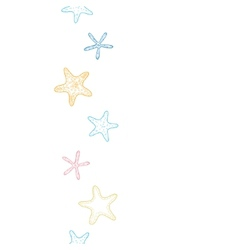 Starfish colorful line art vertical seamless vector