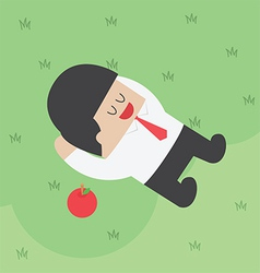Businessman relaxing under the tree with apple vector