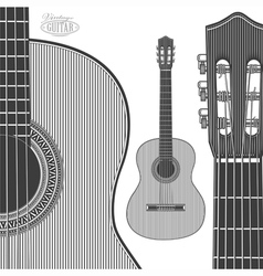 Acoustic guitar in engraving style vector
