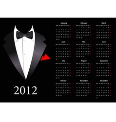 european calendar 2012 with elegant suit st vector