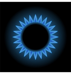 Blue flames of gas stove vector