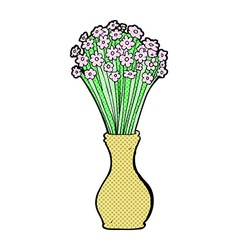 Comic cartoon flowers in pot vector