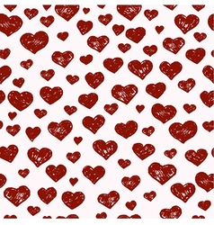 Hand drawn seamless pattern with red hearts vector